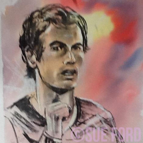 Andy Murray portrait, charcoal and watercolour