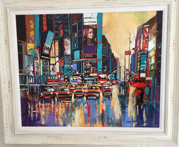 Times Square New York in collage and acrylic