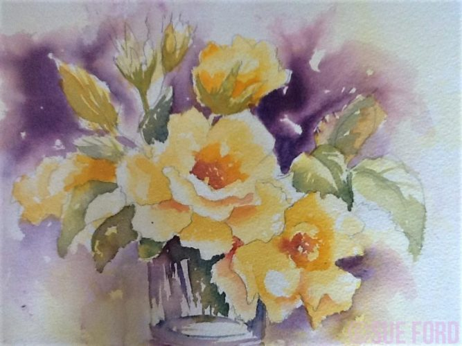 yellow roses in watercolour