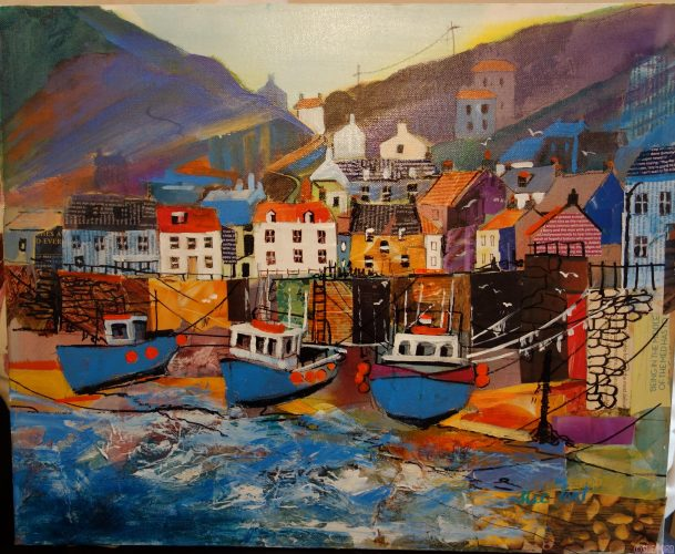 Acrylic and collage painting of Staithes